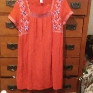 Old Navy SZ XL Burnt Orange Embroidered midi Dress